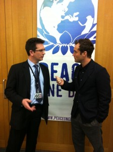 Steve Baker MP discussing Peace One Day with Jude Law