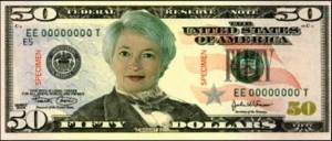 Yellen on the 50 dollar bill cartoon