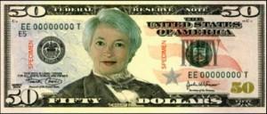 Yellen on the 50 dollar bill cartoon