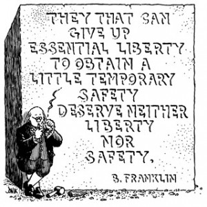 Ben Franklin on Liberty and Security Cartoon