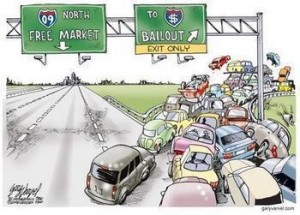 Highway Free Market vs. Highway Bailout cartoon