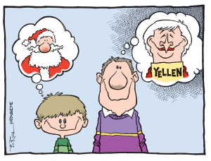 Yellen as Santa cartoon