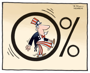 Uncle Sam Running on Zero Percent Interest Rates cartoon