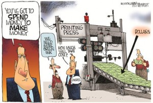 Printing Press for Making Money cartoon