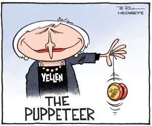 Yellen the Puppeteer cartoon