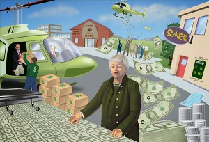 Yellen Preparing the Money cartoon