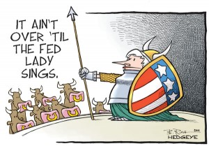 Yellen as Singing Fat Lady cartoon