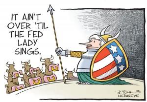 Yellen as Singing Fat Lady cartoon