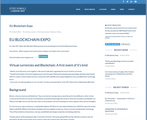 Dr Syed Kamall MEP hosts virtual currencies and blockchain exhibition in European Parliament organised by The Cobden Centre
