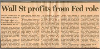 "FT.com — ""Wall St profits from Fed role"""